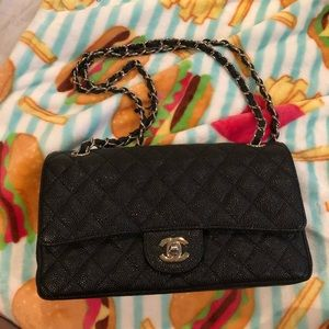 Black Caviar Quilted Leather Bag
